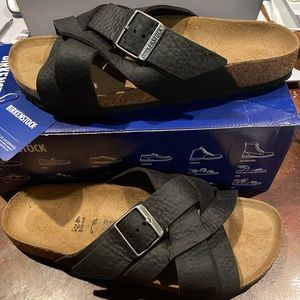 Birkenstock Lugano black leather 10 narrow new